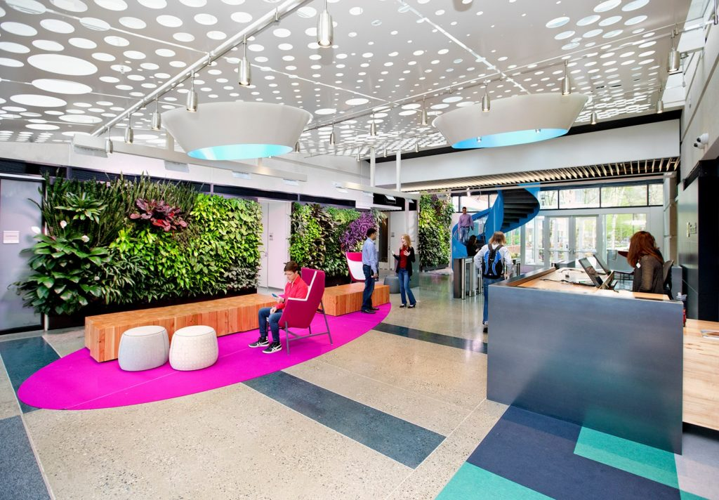 Office reception area with a living wall