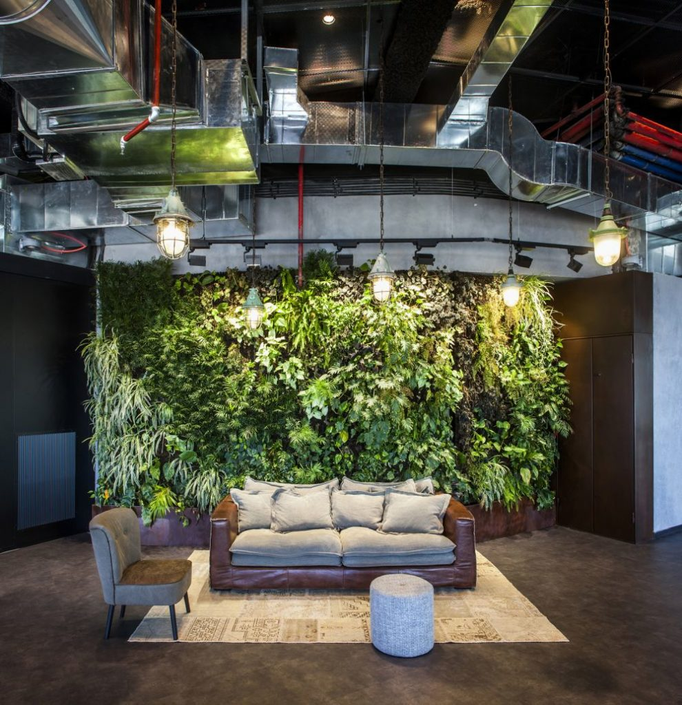 Waiting area with green wall