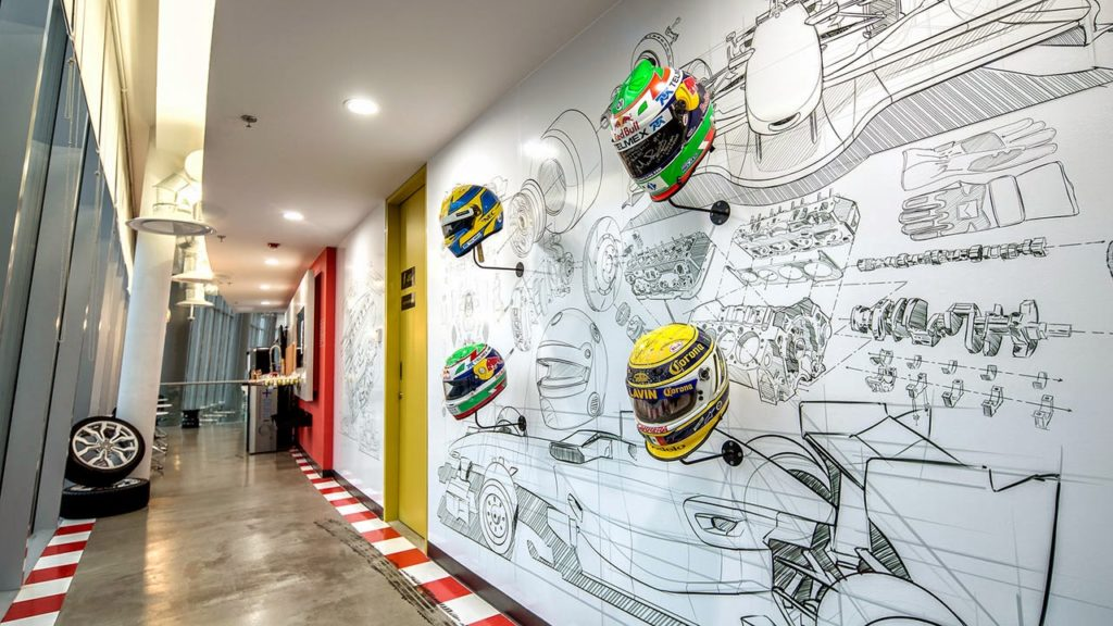 cool office with decorative helmets