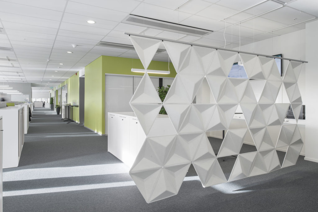office with aircone acoustic panels