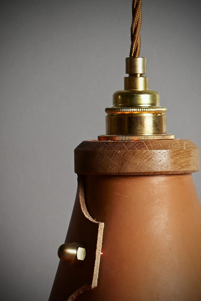 hangup lamp made from leather