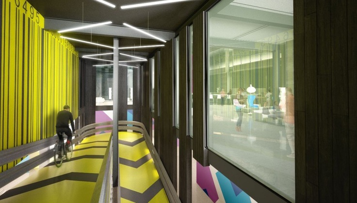 The Alphabeta cycle-in office in London has a ramp for bike commuters