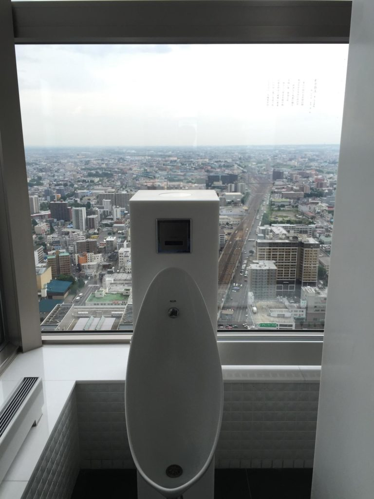 urinal with a view in Japan