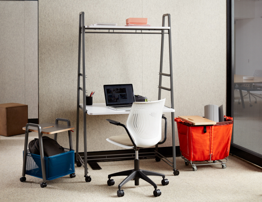 modular unit with an integrated desk