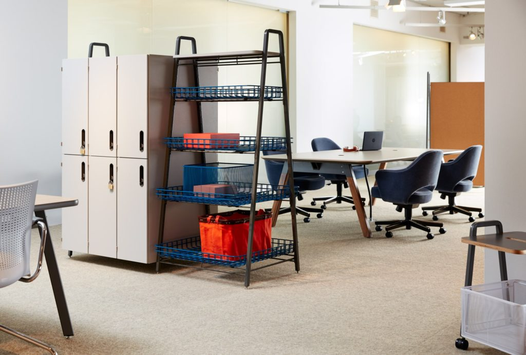 Office with an A-frame modular storage unit