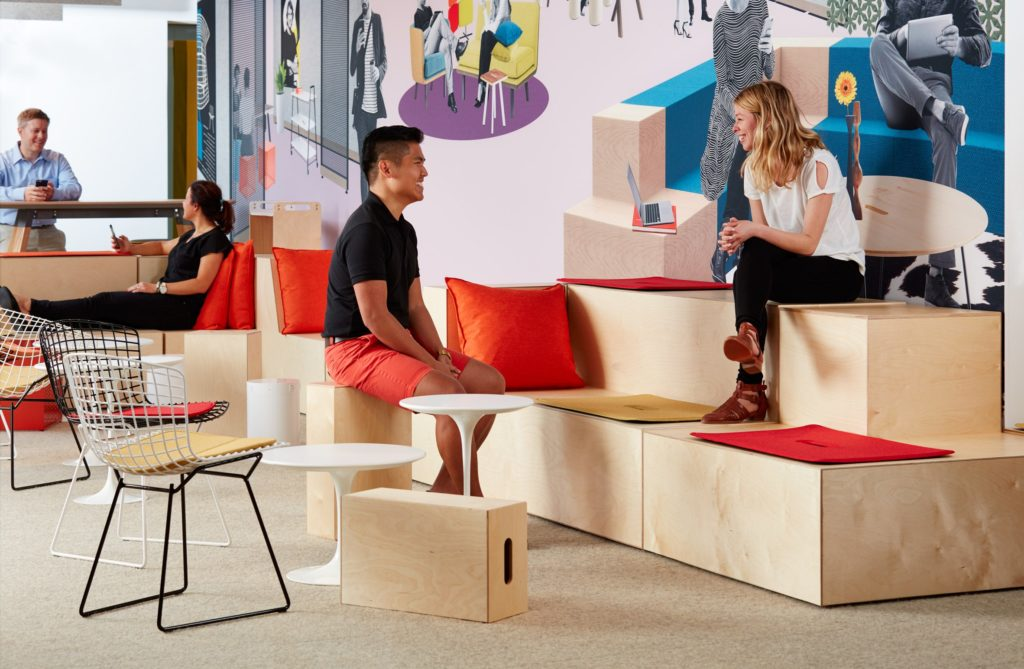 Rockwell's unscripted furniture for breakout area