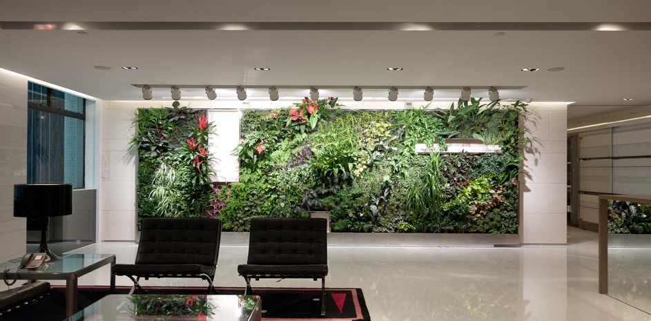 office reception with living wall