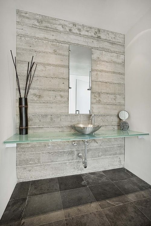 office washroom with glass countertops