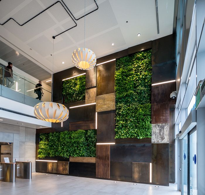 office lobby with green walls
