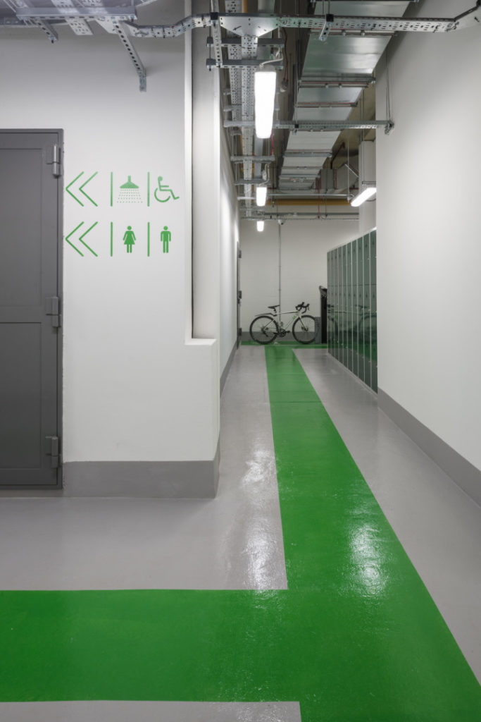 wayfinding inside office for workers who cycle to work