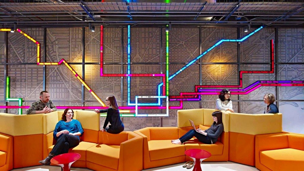 Colourful breakout area at Motorola Chicago