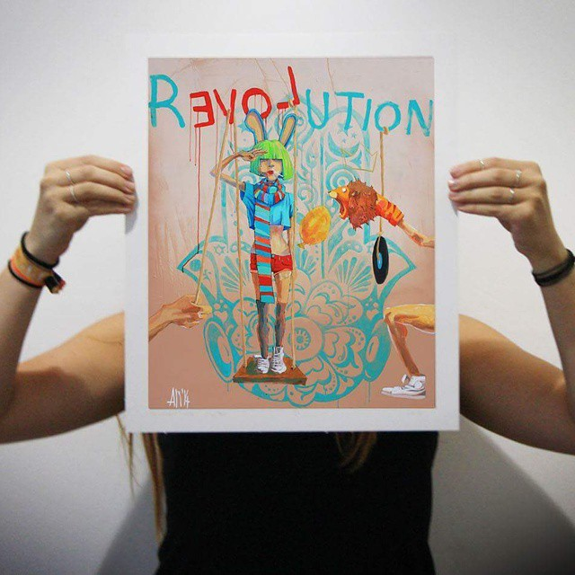 R(love)ution limited edition giclee print by Anna Rewinska