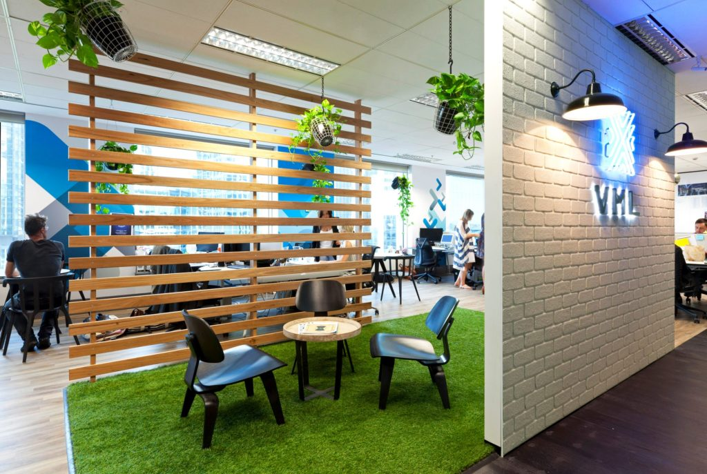 breakout area set apart by a timber divider