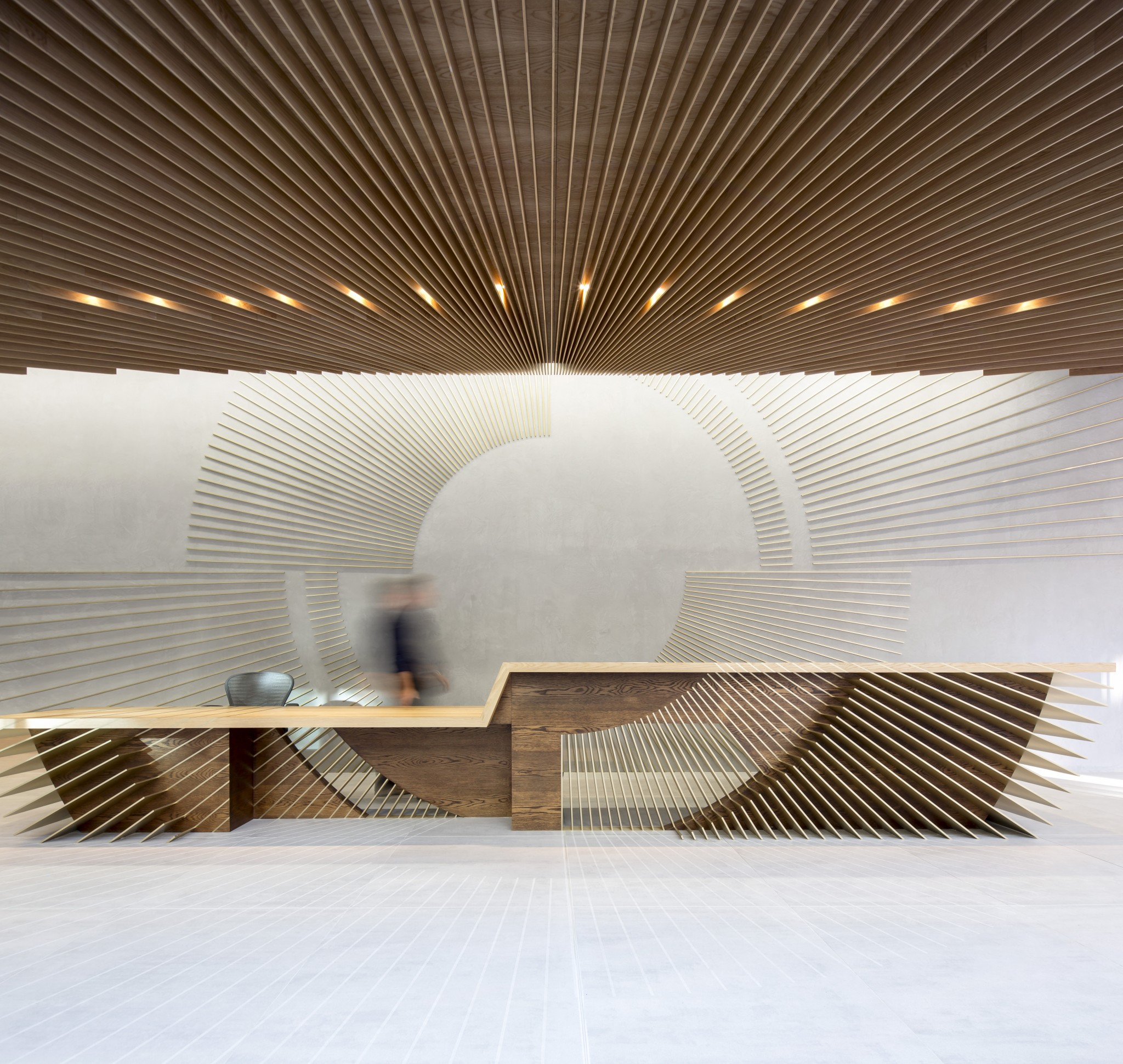 Reception desk in the Ampersand Building by Darling Associates